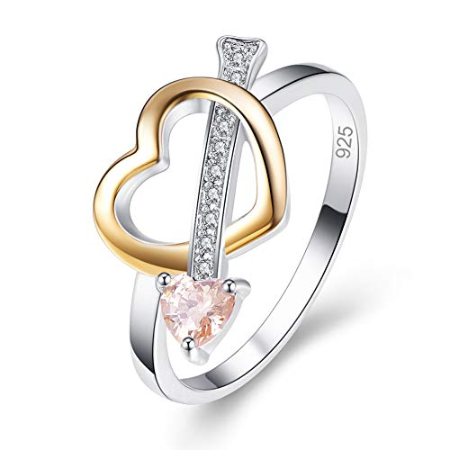 - Humasol 925 Sterling Silver Filled 2 Tone CZ Heart & Arrow Ring for Women