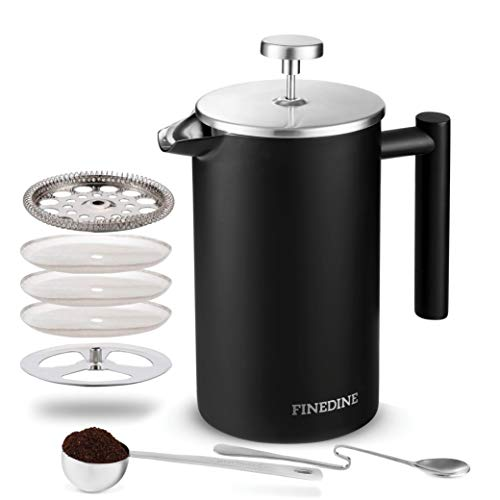 (Finedine French Press Coffee Maker - (34-Oz) 18/8 Stainless Steel Double Wall Insulated Retains Heat Longer - Triple-Screen Grounds Filter System, Sleek Matte Black, Extra Filter & Components Included)