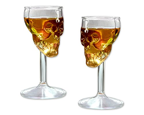 Skull Shot Glass 2 Pieces 75 Milliliter  / 2.5 Ounce Whiskey Wine Glass 4.5