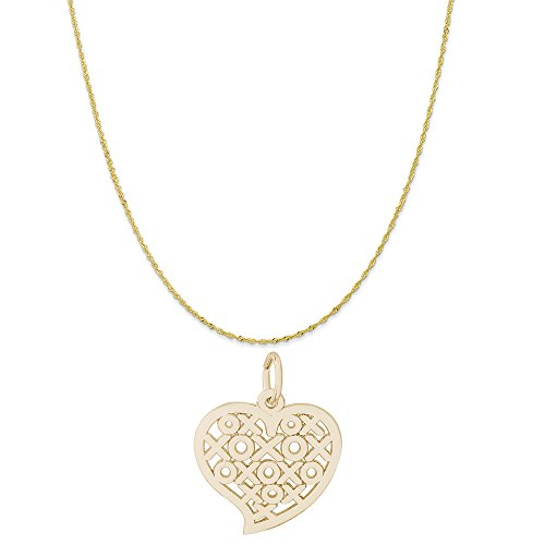Rembrandt Charms 10K Yellow Gold Hugs and Kisses Heart Charm on a Twist Curb Chain Necklace, 18'' by Rembrandt Charms