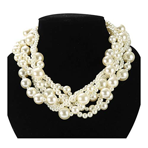 Simulated Pearl Choker Necklace for Women Manual Bead Multi Strand Necklace for Bridal -
