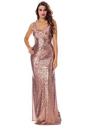 PARTY LADY Women's Long Evening Party Dress Stretchy Bandage Sequin Maxi Dress Size L Rose Gold