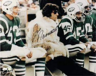 - Signed Joe Namath Photograph - 16x20 Hologram #DD64377 wearing fur coat) - JSA Certified - Autographed NFL Photos