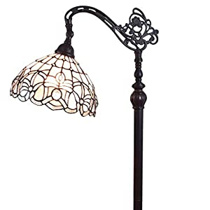Amora Lighting Tiffany Style Floor Lamp Arched 62″ Tall Stained Glass White Mahogany Antique Vintage Light Decor Bedroom Living Room Reading Gift AM283FL12B, 12 Inch Diameter