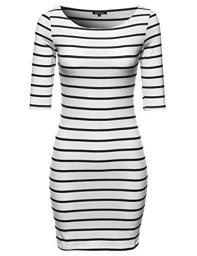 [Basic Every Day Boat Neck Stripe 3/4 Sleeve Dress White Black M Size] (Black White Stripe Dress)