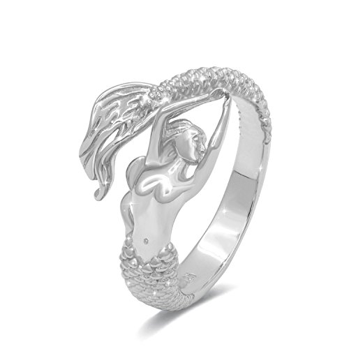 JXJL Mermaid Adjustable Cocktail Ring Sterling Silver Fairytale Little Mermaid Open Wrap Ring Necklace for Woman Girls Wife