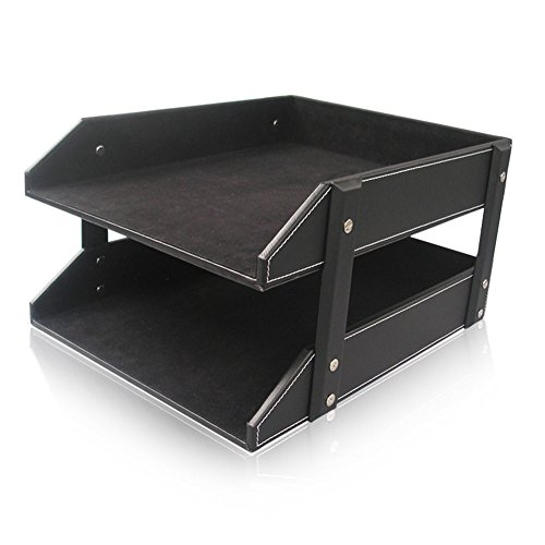 KINGFOM™Leather Office File Document Tray Case Rack Desk File Document Organizer Holder (2 trays-black)