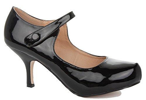 FOLLOW ME FMUK  H213, Damen Mary Jane Halbschuhe, Schwarz - schwarz - Größe: 36