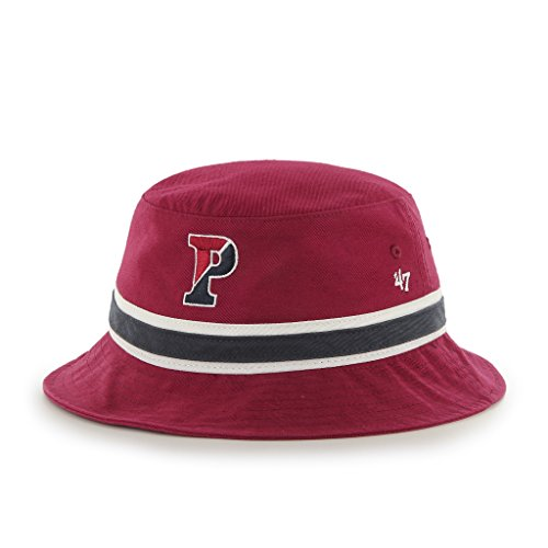 (NCAA Pennsylvania Quakers '47 Brand Bright Striped Bucket Hat, One Size, Dark Red)