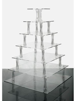 7 Tier Square Clear Acrylic Cupcake Stand