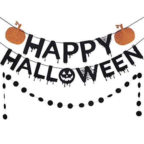 Black Glittery Happy Halloween Orange Pumpkin Banner and Black Circle Dots Garland -Home Decor Sign Outdoor Indoor Halloween Party Decoration Supplies -