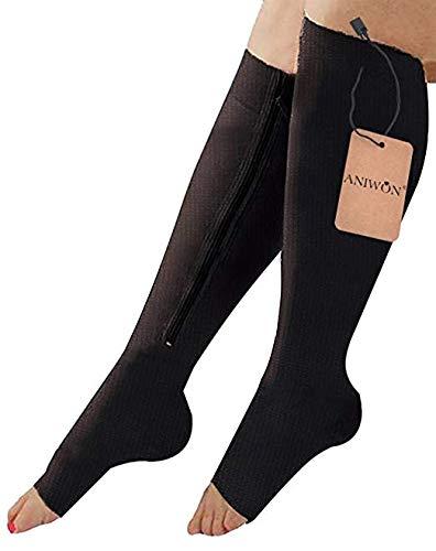Aniwon Zipper Compression Socks Open Toe Knee High Leg Support Hosiery Stocking Black,Large