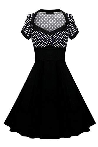 Yacun Women Vintage Dress Polka Dot Cocktail Swing Rockabilly 40s 50s Black M (Yacun Women Dress)