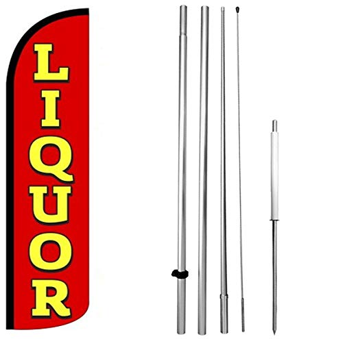Liquor Windless Swooper Flag Kit 15' Feather Banner Sign ()