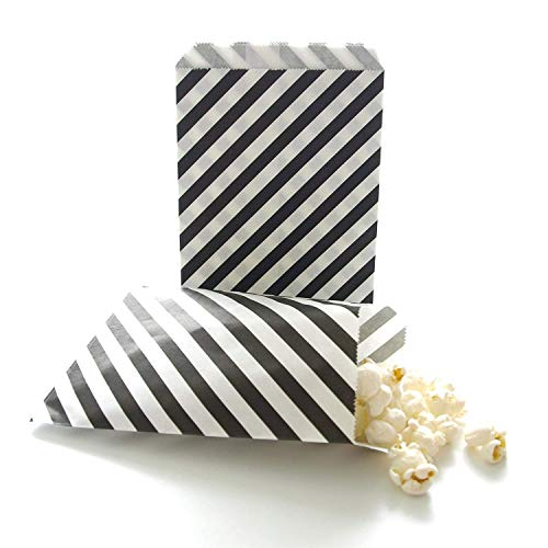Tvoip 50 Pcs 5 x 7 Inches White and Black Striped Paper Bags,Holiday Wedding Christmas Favor Candy Treat Bags