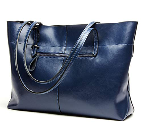 (Covelin Women's Handbag Genuine Leather Tote Shoulder Bags Soft Hot Blue)
