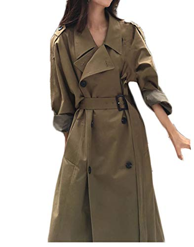 Women Classic Long Sleeve Double Breasted Belted Trenchcoat Olive M -