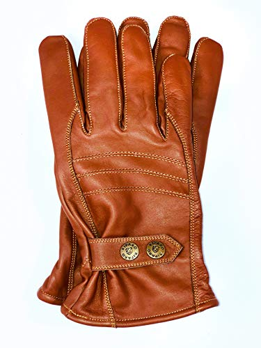 Riparo Men's Winter Italian Nappa Leather Dress Driving Gloves (Wool/Fleece Lining) (Brown, XX-Large)