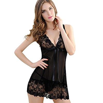 AblerV Women Sexy Nightwear Halter Lace Strap Chemise Babydoll Lingerie Set