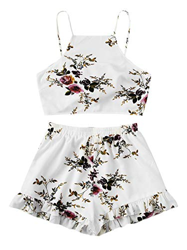 SweatyRocks Women's 2 Piece Boho Floral Print Crop Cami Top with Shorts Set White#5 M