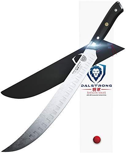 "DALSTRONG - Shogun Series Slicer - Japanese AUS-10V Super Steel - Vacuum Treated - Guard Included (12.5"" Butcher-Breaking Cimitar Knife)"