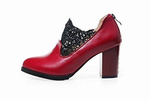 Pointed Heel Pumps Block Womens Fashion Red High Latasa Dress Shoes toe Mesh 0Ftq0UT