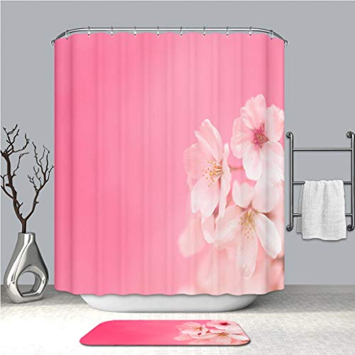 BEICICI Creative Shower Curtain and Bath mat Rug Cherry Blossoms Against Pink Background_ Custom Stylish,Waterproof,Mildew Proof Bathroom Set ()