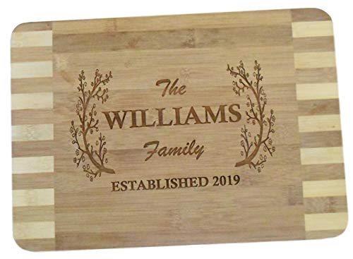 """Personalized Custom Engraved Bamboo Wood Cutting Board - 13.5""""x9.6""""x0.68"""" - Beautiful, made to order & affordable"""