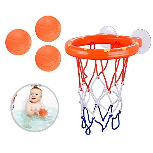 House Ur Home Bath Toy Fun Basketball Hoop & Balls Set for Boys and Girls- Kid & Toddler Bathtub Shooting Game with Strong Suctions Cups That Stick to Any Flat Surface. Perfect Bath Toys Gift Set.