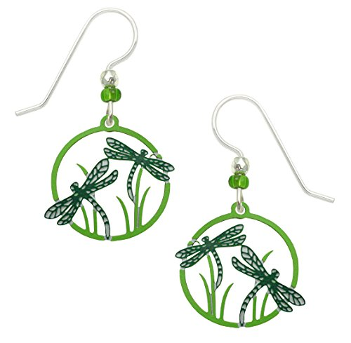 (Sienna Sky Dragonflies Hand Painted Earrings in Teal Black and Green with Gift Box Made in USA)