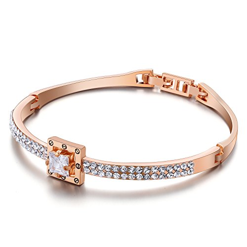 Menton Ezil Princess Crystal Bracelet Rose Gold Luxury Jewelry Adjustable Bangle Bracelets for Womens Girls Wife Anniversary Fashion Collections Loves Design by Menton Ezil (Image #1)