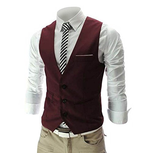 (Zicac Men's Top Designed Casual Slim Fit Skinny Dress Vest Waistcoat Red)