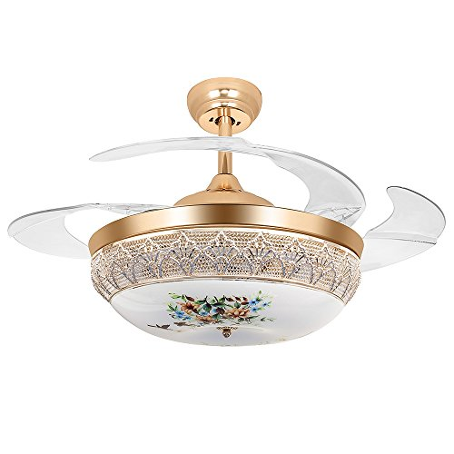 Huston Fan 42-Inch Decorative Ceiling Fan Remote Control Crystal Ceiling Fan With Retractable Blades Bedroom Chandelier Living Room Ceiling Light (42 inch, ()