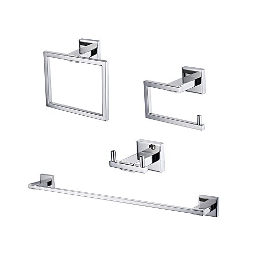 Kes 4-Piece Bathroom Accessory Set RUSTPROOF Wall Mount Polished SUS 304 Stainless Steel, LA240-42
