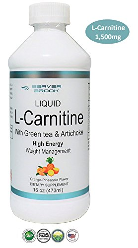 Beaver Brook Liquid L-Carnitine 1,500mg with Green Tea & Artichoke Supplement for Strength and Fat Burning - Orange Pineapple
