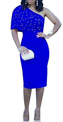 Les Femmes Cromoncent Un Ajustement Bodycon Mode Parti Club Épaule Perles Mince Robe Midi Bleu