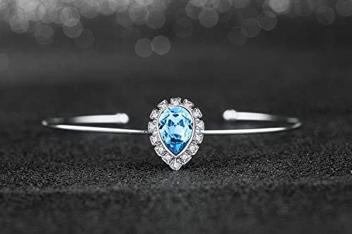AirVocs Women's Charm Teardrop Bangle Bracelet Jewelry pear Drop Bracelet with Swarovski ()