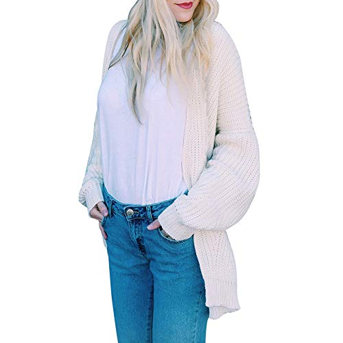 GOVOW Knitted Sweater for Women Loose Long Sleeve Solid Loose Cardigan Outwear Coat(US:14/CN:XL,Beige )