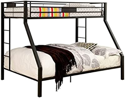 Furniture of America Rivell Twin Over Queen Metal Bunk Bed in Black