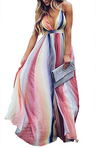 (LKOUS Women Summer Sexy Sleeveless Deep V Neck Spaghetti Strap Split Long Maxi Dress Party Plus Size)