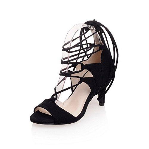 AmoonyFashion Women's Zipper Imitated Suede Peep-Toe High-Heels Solid Sandals, Black, 33 by AmoonyFashion