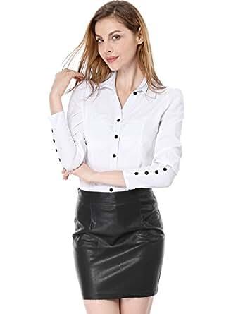 Allegra K Women Point Collar Long Sleeve Button Decor Cuffs Shirt XS White