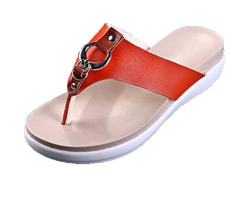 Été pour Slip Femmes Pantoufles Sandales Flat on Orange Loisirs Antidérapant Chausson Runyue Soft Casual Mules Plage 1wUqxn55v