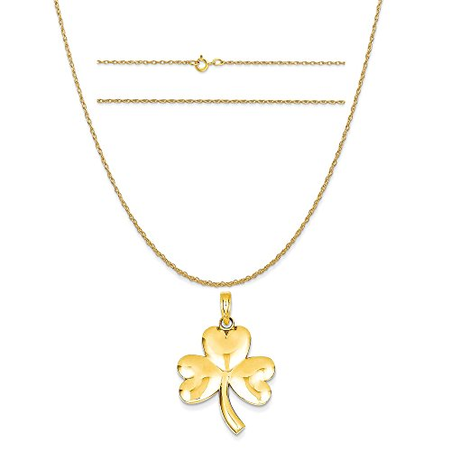 14k Yellow Gold Shamrock Charm on a 14K Yellow Gold Carded Rope Chain Necklace, 16