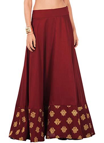 - Indya Oxblood Embroidered Border Silk Maxi Skirt L