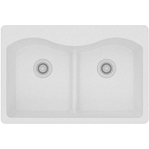 Elkay Quartz Classic ELGLB3322WH0 White Equal Double Bowl Top Mount Sink with Aqua Divide (Bowl Double Sink)