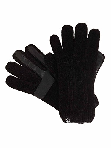 Isotonerレディーススマートタッチグローブcable-knit Chenilleグローブ – 1サイズ – ブラック