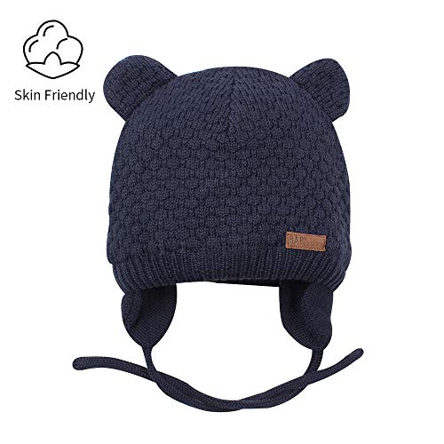 RAOEXI Baby Beanies Winter Warm Toddler Boys Girls Earflap Hat Infant Knit Caps Cute Bear Cotton Lined Christmas (Navy, M(4-10M))