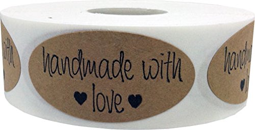 2 x 1 Oval Shape Handmade With Love Natural Kraft Stickers with Black Font | 500 Total Adhesive Labels