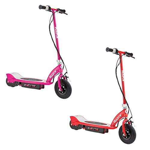 Razor E175 Motorized Rechargeable Electric Powered Kids Scooters, 1 Pink & 1 Red